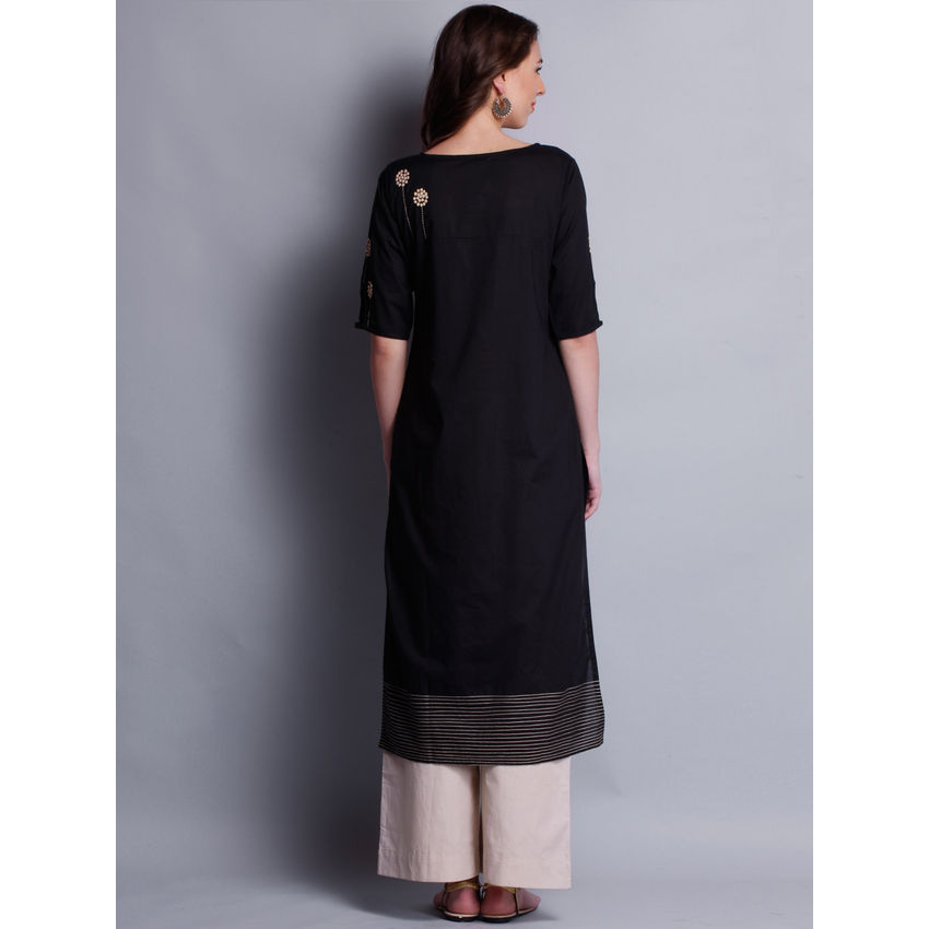 Kurtis Patti Work Embroidered Black Long Kurta With