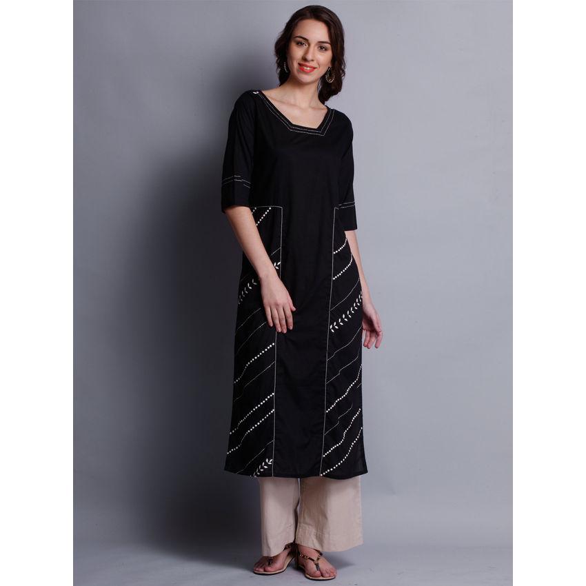 Buy Patti Work Embroidered Black Long Kurta For Women