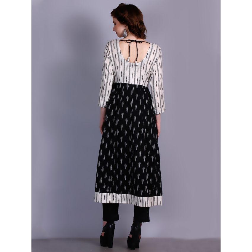 Buy Black And White Ikat Cotton Kalidar Kurta Online
