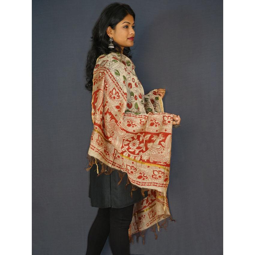 Buy Multicolored Chanderi Silk Leaf Print Dupatta Online