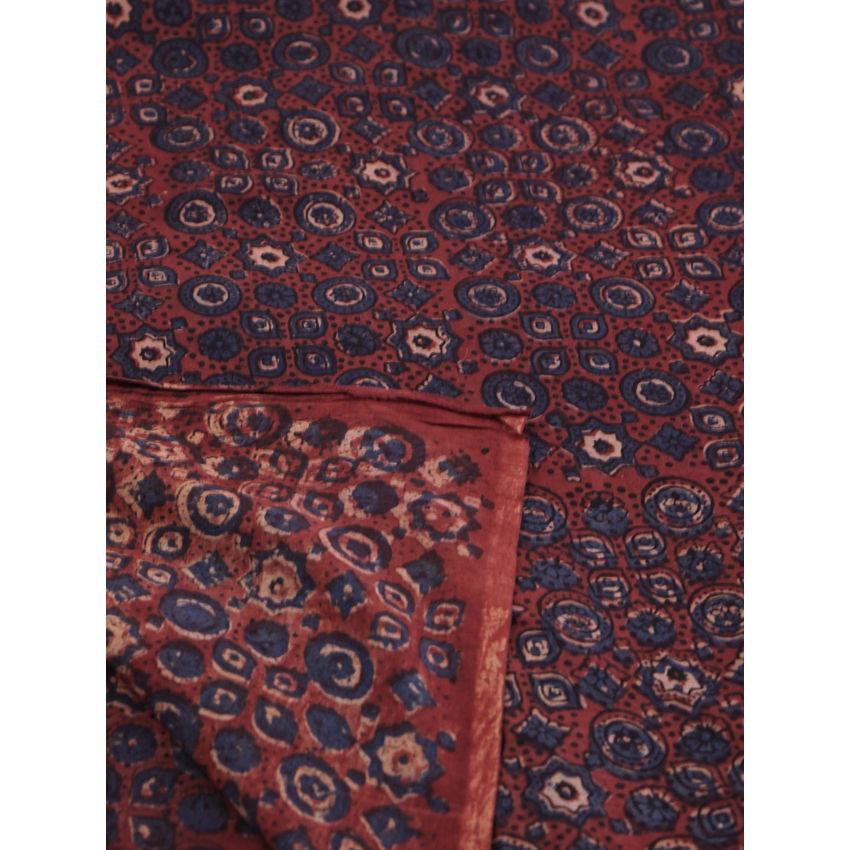 Buy Maroon Indigo Ajrak Handblock Printed Cotton Fabric