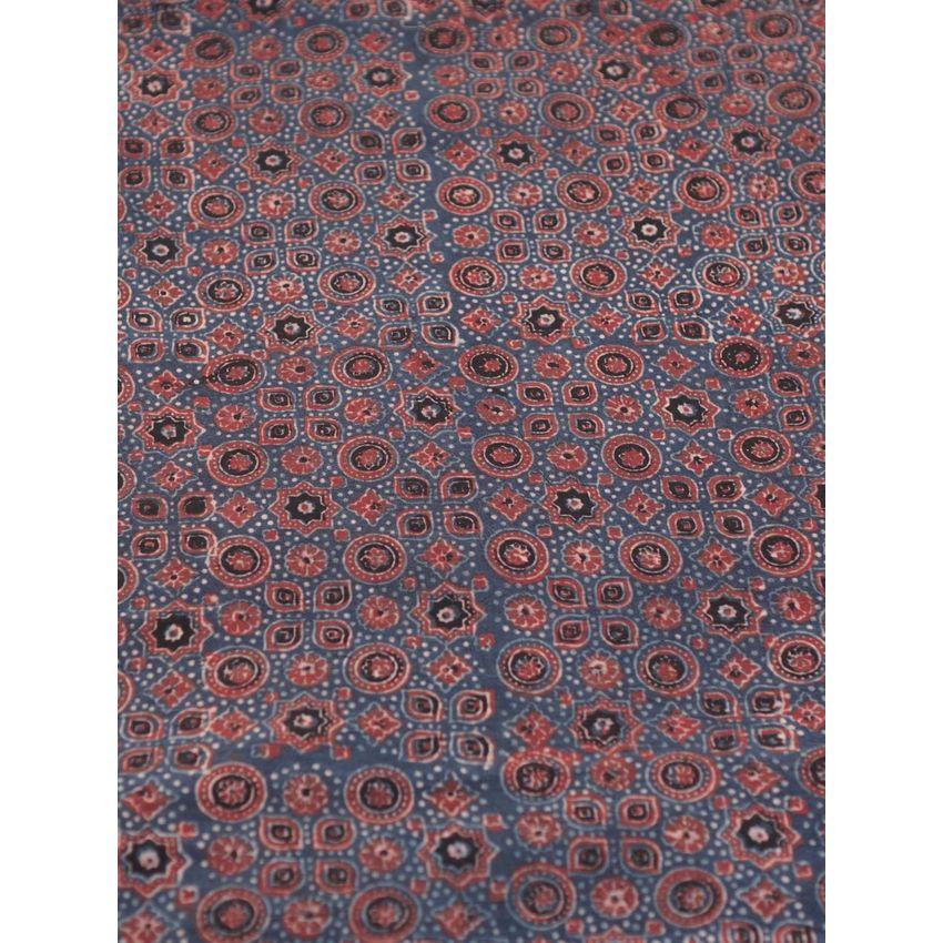 Buy Light Maroon Ajrak Handblock Printed Cotton Fabric