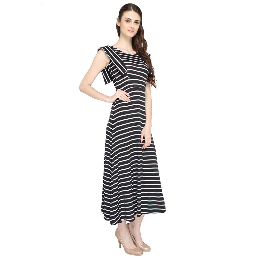 1f7310e2d8 ... A-Line Black   White Strips dress Side ...