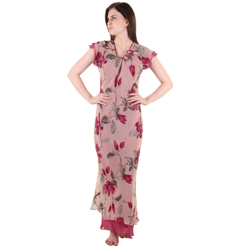 Buy Wine Chiffon Nighty Online at low Price  a215f3f56