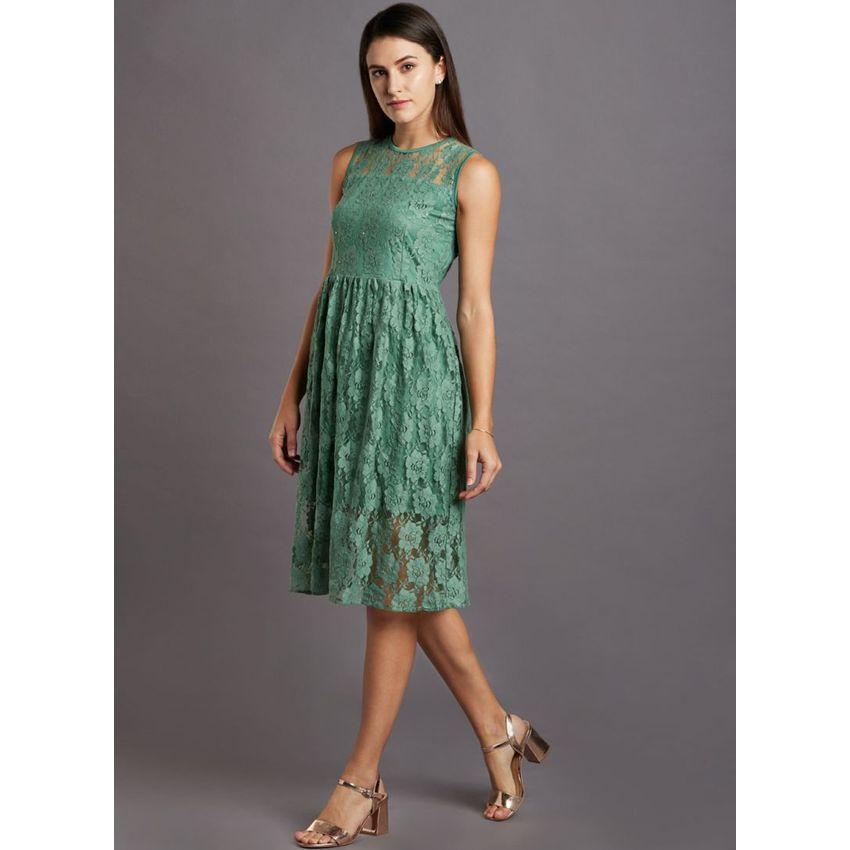 Emerald Lace Evening Dress