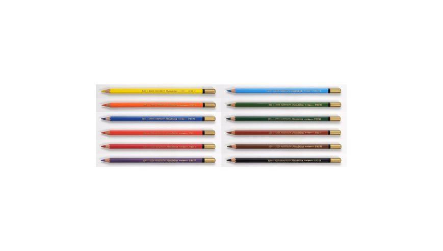 Koh-I-Noor Mondeluz Artist's Water Soluble Coloured Pencils - Assorted - Set of 12