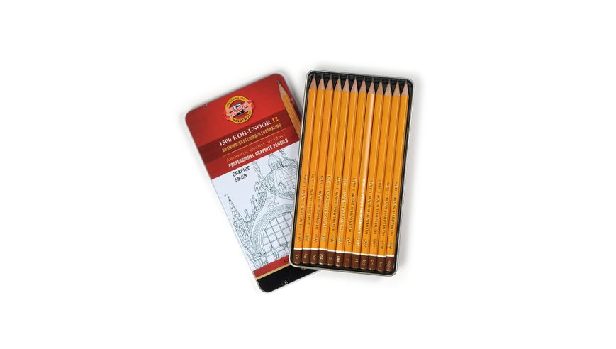 Koh-I-Noor Yellow Professional Graphite Pencil GRAPHIC Set of 12 - 5B-5H