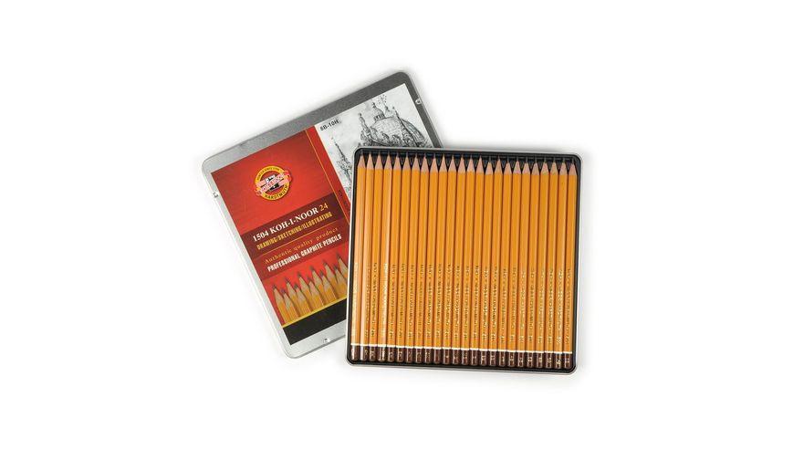 Koh-I-Noor Yellow Professional Graphite Pencil COMPLETE ART set of 24 - 8B-10H