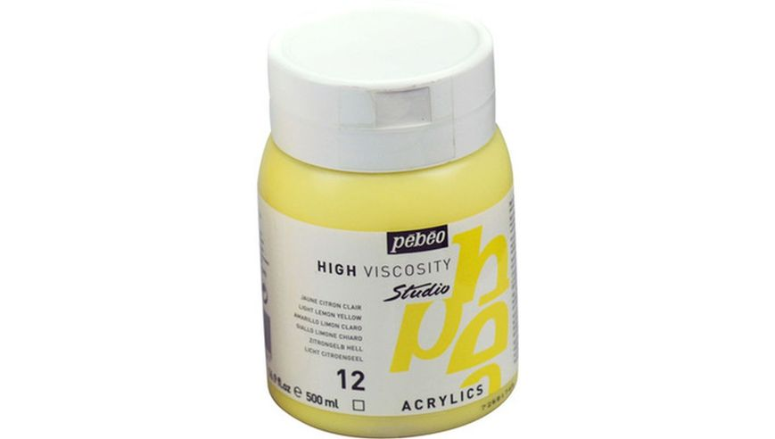Pebeo Studio Acrylic High Viscosity 500 ml Light Lemon Yellow 12