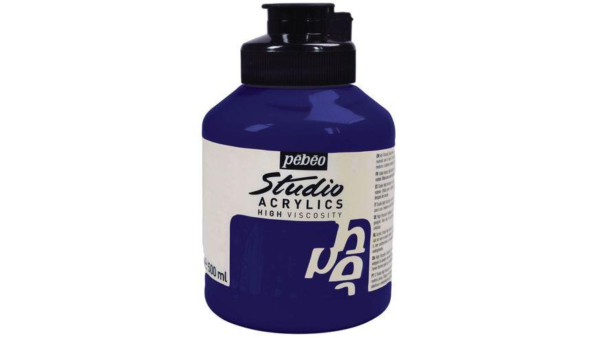Pebeo Studio Acrylic High Viscosity 500 ml Dark Ultramarine 15