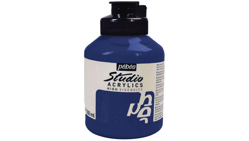 Pebeo Studio Acrylic High Viscosity 500 ml Pthalocyanine Blue 17