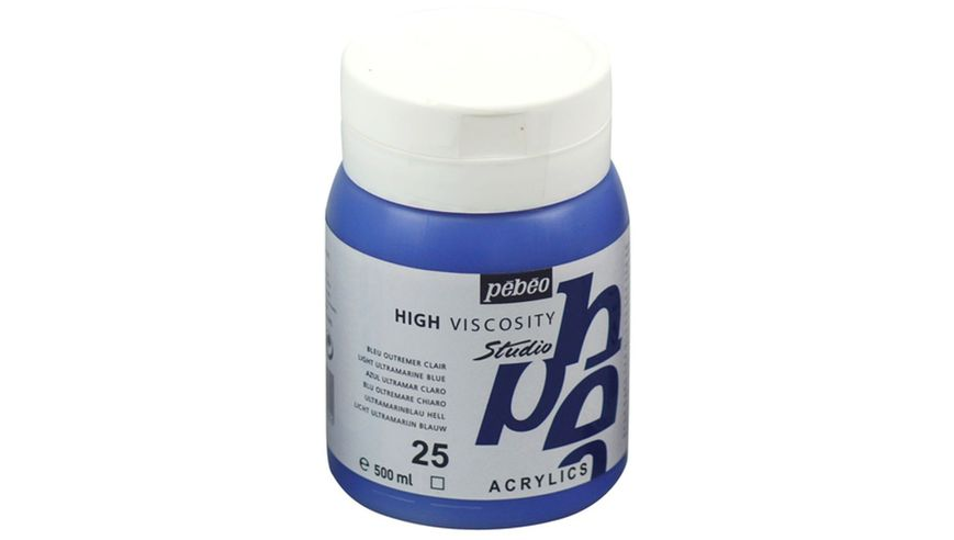 Pebeo Studio Acrylic High Viscosity 500 ml Light Ultramarine Blue 25
