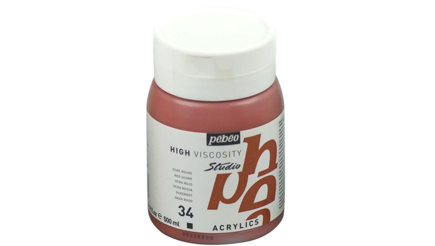 Pebeo Studio Acrylic High Viscosity 500 ml Red Ochre 34