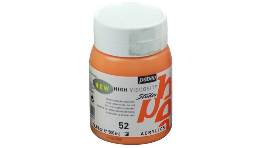 Pebeo Studio Acrylic High Viscosity 500 ml Dark Cadmium Yellow Hue 52
