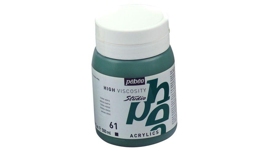 Pebeo Studio Acrylic High Viscosity 500 ml Green Earth 61