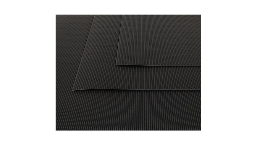 Canson Corrugated Cardboard Paper Pack of 10 - 300 GSM, 50 x 70 cm  - Black