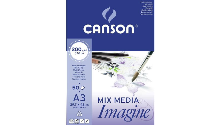 Canson Imagine 200 GSM A3 Pad of 50 Light Grain Sheets