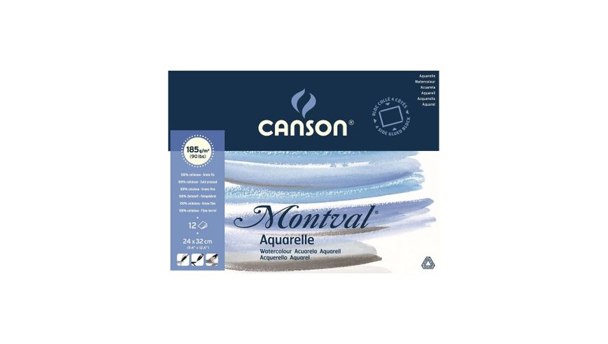 Canson Montval 185 GSM 24 x 32 cm 4 Side Glued Pad of 12 Fine Grain Sheets