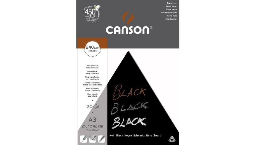 Canson Black 240 GSM A3 Pad of 20 Smooth Grain Sheets