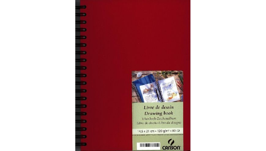 Canson Drawing Book 120 GSM A5 80 Fine Grain Sheets - Red Cover
