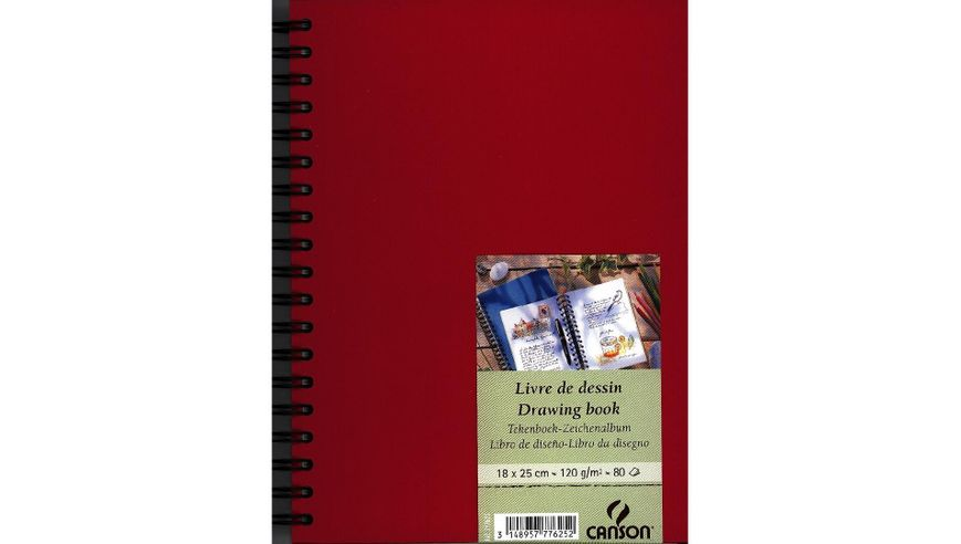 Canson Drawing Book 120 GSM 18 x 25 cm 80 Fine Grain Sheets - Red Cover