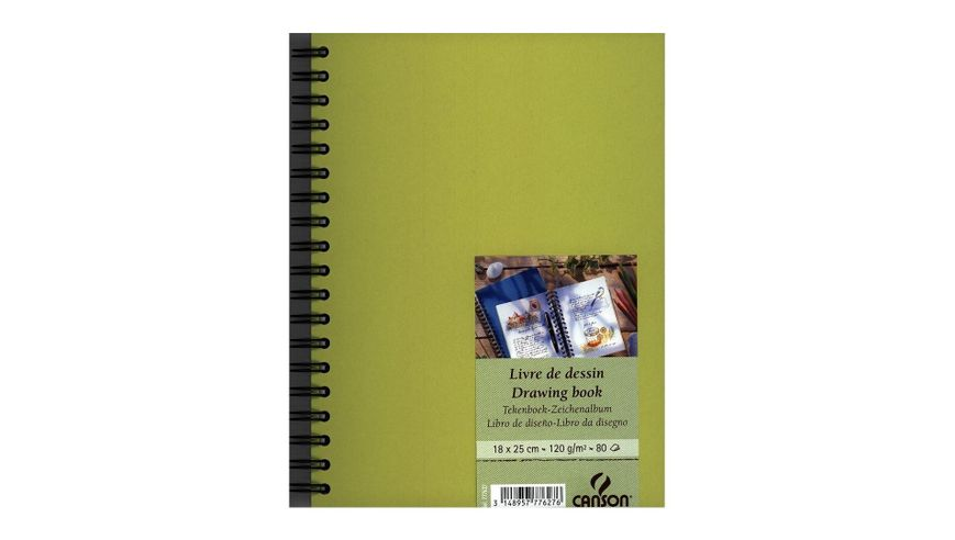 Canson Drawing Book 120 GSM 18 x 25 cm 80 Fine Grain Sheets - Lime Green Cover