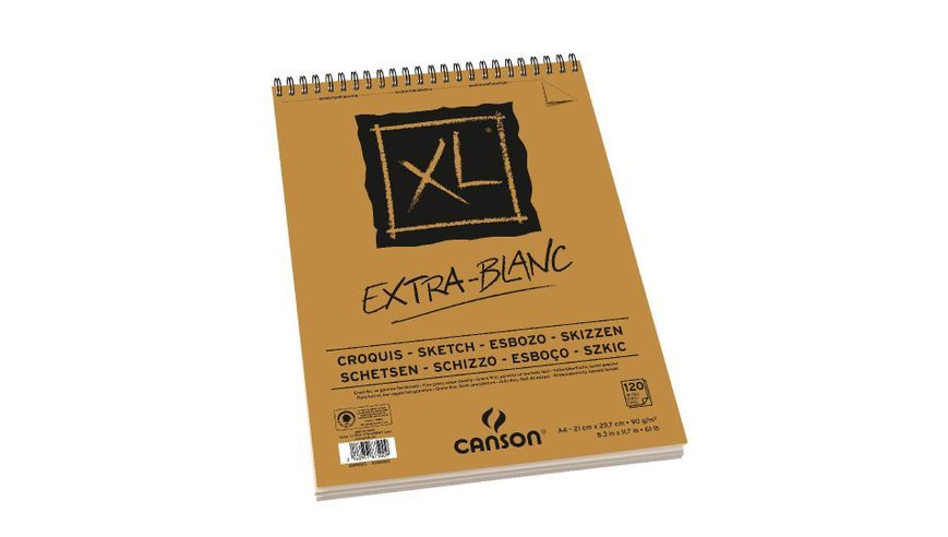 Canson XL Extra White 90 GSM A4 Album of 120 Fine Grain Sheets