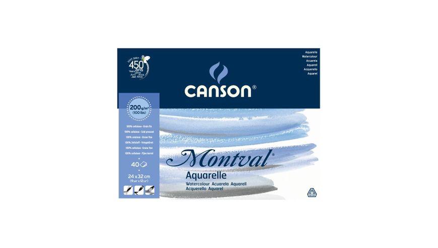 Canson Montval 200 GSM 24 x 32 cm Pad of 40 Fine Grain Sheets
