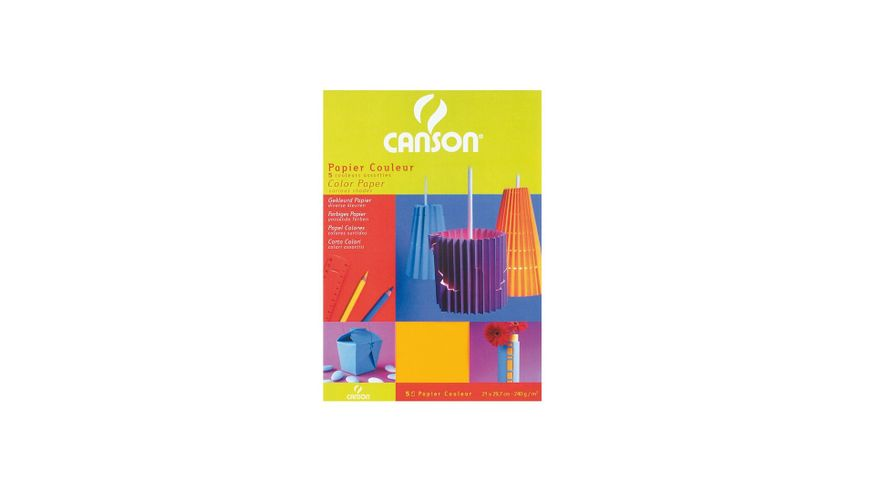 Canson Iris Vivaldi 240 GSM A4 Pack of 5 Smooth Grain Sheets - 5 Assorted Colours
