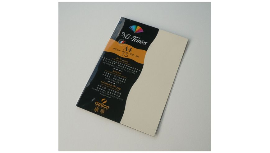 Canson Mi-Teintes 160 GSM A4 Pack of 5 Honeycomb & Fine Grain Sheets - Pale Yellow