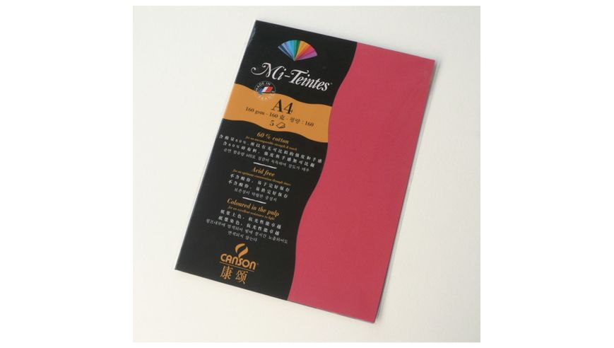 Canson Mi-Teintes 160 GSM A4 Pack of 5 Honeycomb & Fine Grain Sheets - Red