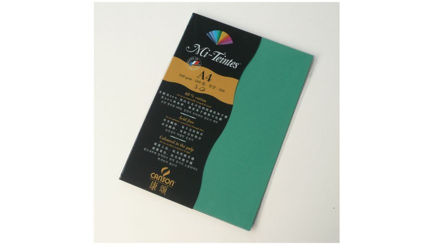 Canson Mi-Teintes 160 GSM A4 Pack of 5 Honeycomb & Fine Grain Sheets - Viridian