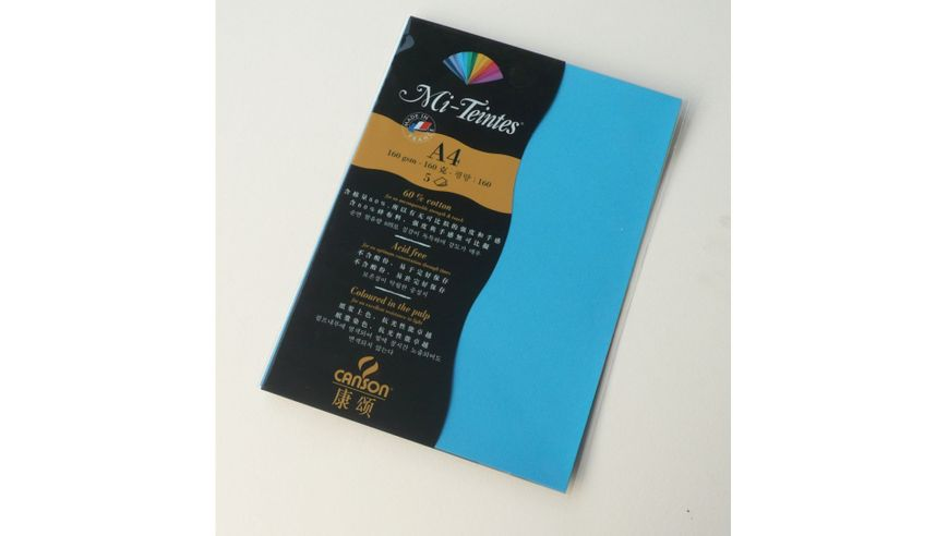 Canson Mi-Teintes 160 GSM A4 Pack of 5 Honeycomb & Fine Grain Sheets - Turquoise Blue