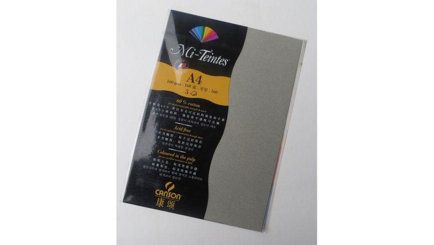 Canson Mi-Teintes 160 GSM A4 Pack of 5 Honeycomb & Fine Grain Sheets - Steel Grey