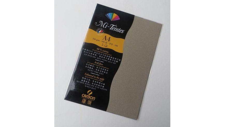 Canson Mi-Teintes 160 GSM A4 Pack of 5 Honeycomb & Fine Grain Sheets - Felt Grey