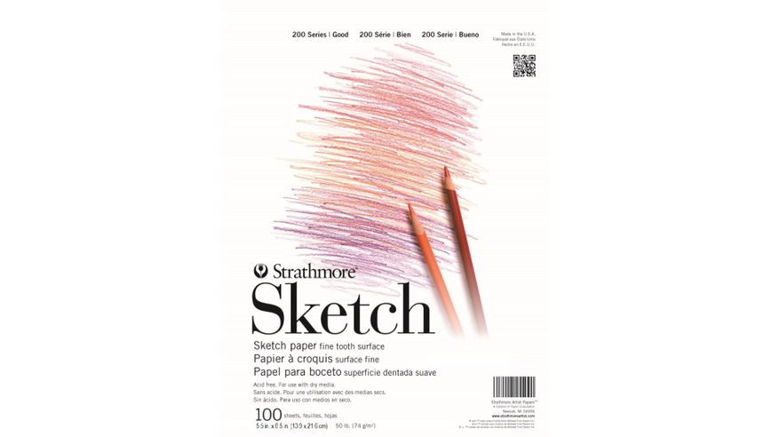 Strathmore 200 Series Sketch 5.5''x8.5'' White Fine Tooth 74 GSM Paper, Short-Side Tape Bound Pad of 100 Sheets