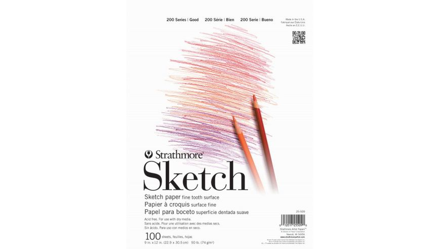 Strathmore 200 Series Sketch 9''x12'' White Fine Tooth 74 GSM Paper, Short-Side Tape Bound Pad of 100 Sheets