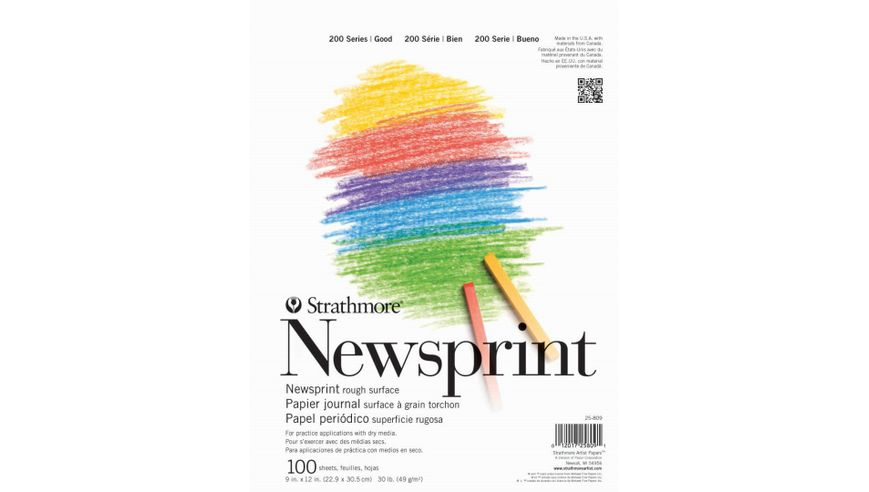 Strathmore 200 Series Newsprint 9''x12'' Off-White Fine Grain 49 GSM Paper, Short-Side Tape Bound Pad of 100 Sheets