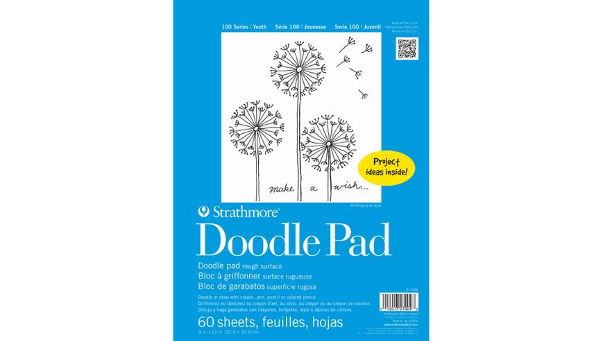 Strathmore 100 Series Doodle 9''x12'' Greyish-White Fine Grain Paper, Short-Side Tape Bound Pad of 60 Sheets