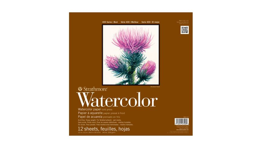 Strathmore 400 Series Watercolor 12''x12'' Natural White Medium Grain 300 GSM Paper, Left-Side Tape Bound Pad of 12 Sheets