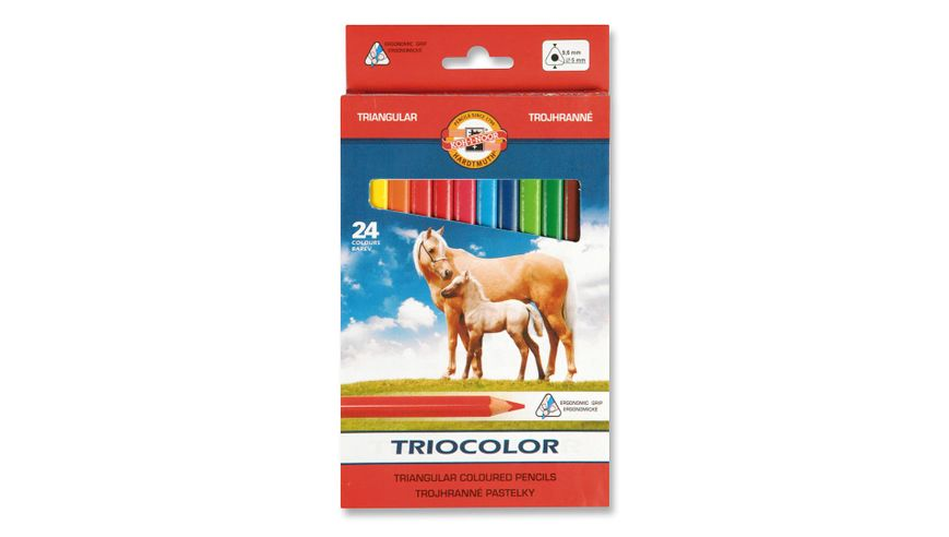 Koh-I-Noor Triocolor Artist's Quality Coloured Pencils - Set of 24 Assorted Colours