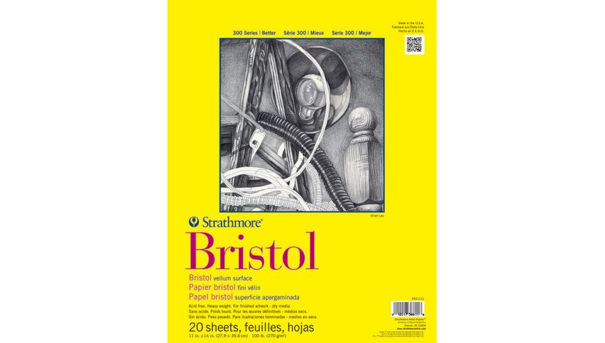 Strathmore 300 Series Bristol 11''x14'' Extra White Vellum 270 GSM Paper, Short-Side Tape Bound Pad of 20 Sheets