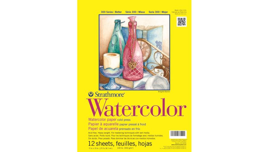Strathmore 300 Series Watercolor 11''x15'' Natural White Medium & Smooth Grain 300 GSM Paper, Short-Side Tape Bound Pad of 12 Sheets