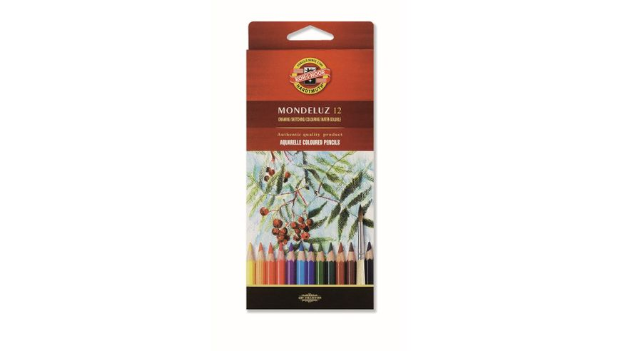 Koh-I-Noor Mondeluz Artist's Water Soluble Coloured Pencils - Assorted - Set of 12 in Card Box
