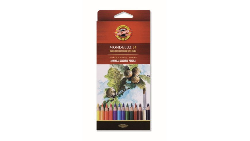 Koh-I-Noor Mondeluz Artist's Water Soluble Coloured Pencils - Assorted - Set of 24 in Card Box