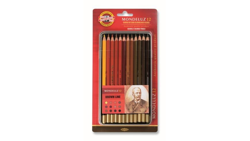 Koh-I-Noor Mondeluz Artist's Water Soluble Coloured Pencils - Brown Line - Set of 12 in Tin Box