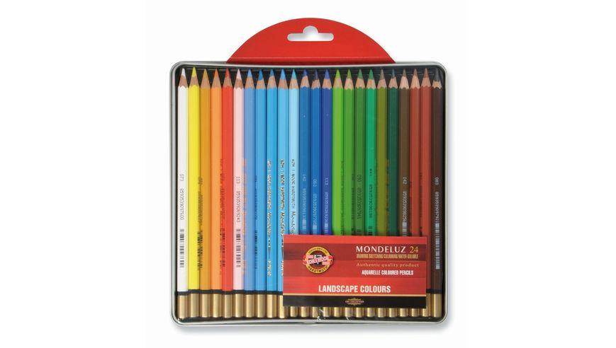 Koh-I-Noor Mondeluz Artist's Water Soluble Coloured Pencils - Landscape - Set of 24 in Tin Box
