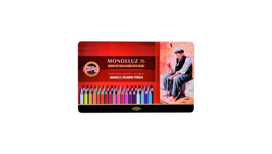 Koh-I-Noor Mondeluz Artist's Water Soluble Coloured Pencils - Assorted - Set of 36 in Tin Box