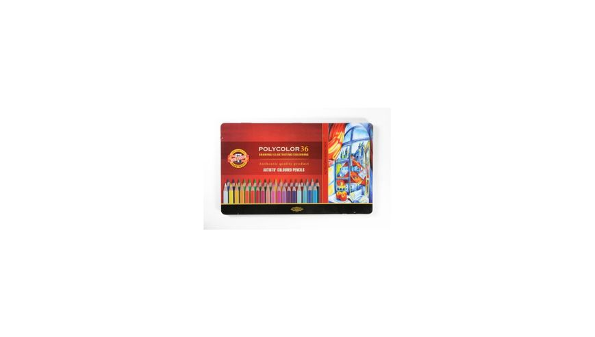 Koh-I-Noor Polycolor Artist's Coloured Pencils - Assorted - Set of 36 in Tin Box