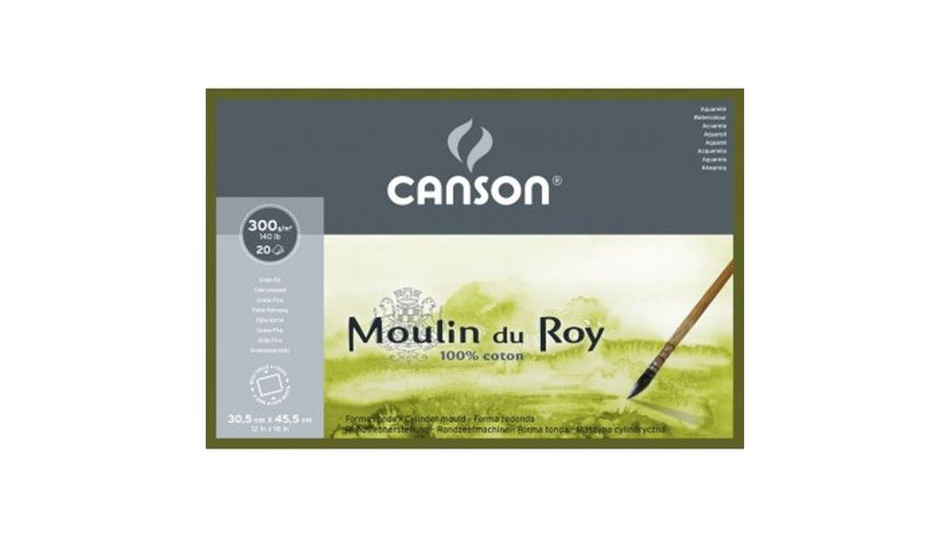 Canson Moulin du Roy 300 GSM 30.5 x 45.5 cm 4 Side Glued Pad of 20 Fine Grain Sheets